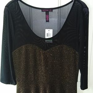 Material Girl SZ L black and gold dress